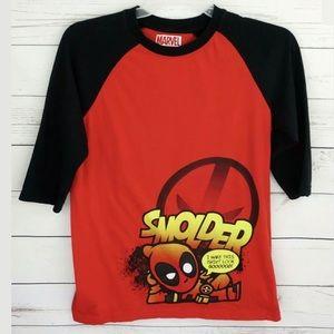 Marvel Deadpool Men's Red Shirt Raglan 3/4 Sleeve